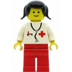 LEGO Minifigure Doctor Stethoscope Red Legs Black Pigtails Hair