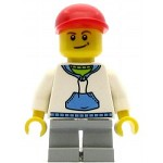 LEGO Minifigure White Hoodie with Blue Pockets Light Bluish Gray Short Legs Red Short Bill Cap