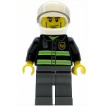 LEGO Town Minifigure Fire - Reflective Stripes, Dark Bluish Gray Legs, White Standard Helmet, Cheek Lines