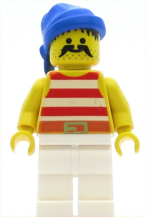 LEGO Pirates Minifigure Pirate Red White Stripes Shirt White Legs Blue Bandana