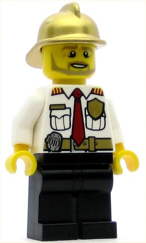 LEGO Town Minifigure Fire Chief White Shirt with Tie and Belt