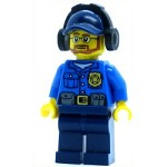 LEGO Town Minifigure Police - City Officer, Gold Badge, Dark Blue Cap with Hole, Headphones, Lopsided Grin