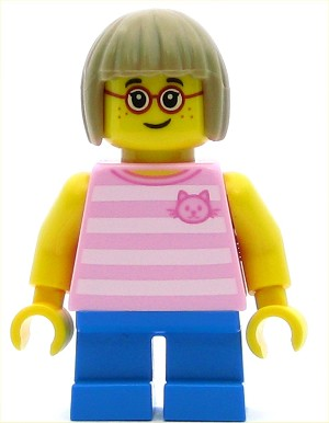 LEGO Town Minifigure Girl Bright Pink Striped Shirt